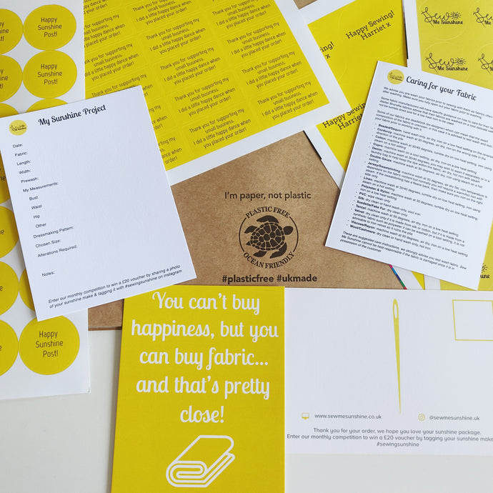 Sew Me Sunshine Sustainable Eco Friendly Plastic Free Packaging