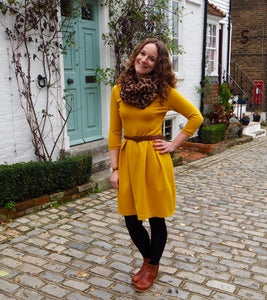 Mel's Sew Over It Emma Dress Made Using Mustard Ponte Di Roma