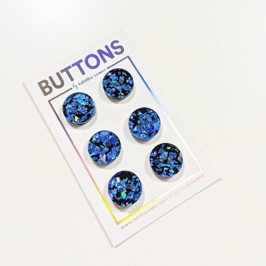 Royal Blue Confetti Classic Round Buttons 15mm (.59
