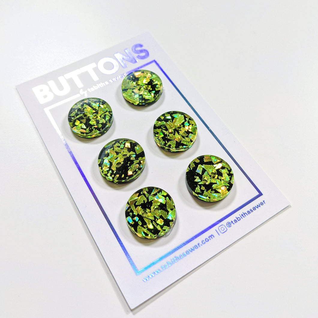 Key Lime Confetti Classic Round Buttons 15mm (.59