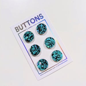 "Turquoise Confetti Classic Round Buttons 15mm (.59"")"