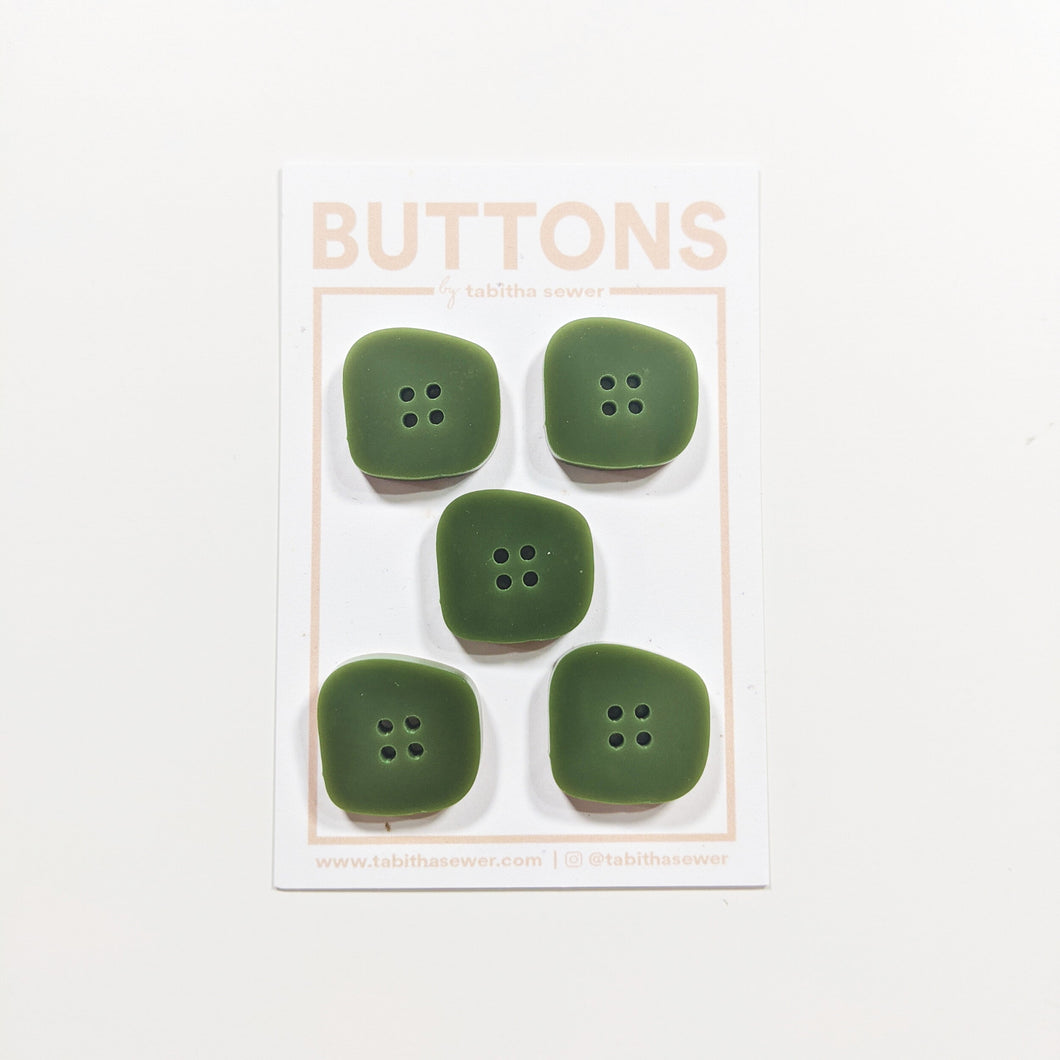 Olive Irregular Square Buttons 21mm (.81