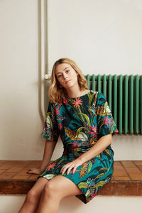 Turquoise with Tropical Print - Viscose - Atelier Jupe