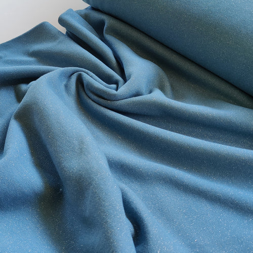Blue Glitter - Fleece Backed Jersey