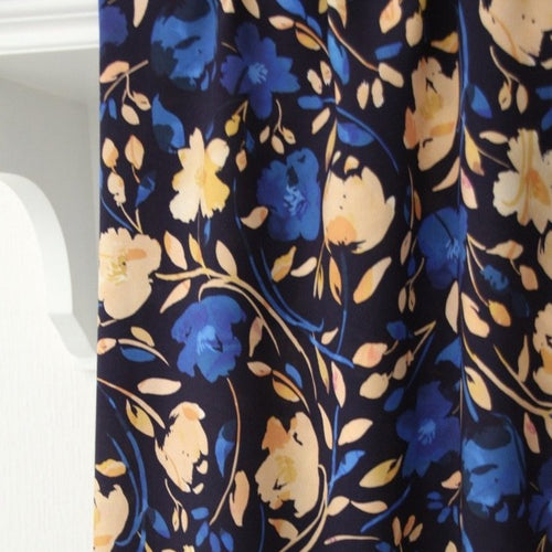 Dark Blue with Blue and Salmon Pink Flowers - Viscose - Atelier Jupe