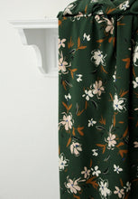 Forest Green with Soft Pink Flowers - Viscose - Atelier Jupe