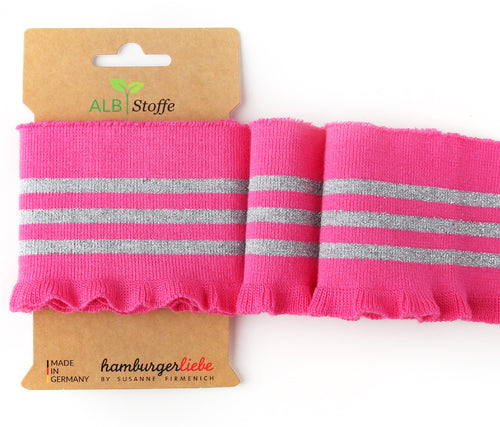 Cuff Me Frill Bright Pink & Silver - Albstoffe - Haberdashery & Tools - Albstoffe - Sew Me Sunshine