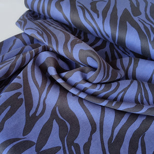 Zebra Stripes Blue - Sandwashed Lyocell Twill