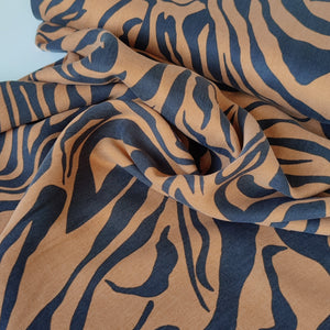 Zebra Stripes Rust - Sandwashed Lyocell Twill