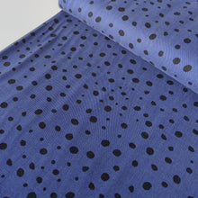 Irregular Dots Blue - Sandwashed Lyocell Twill