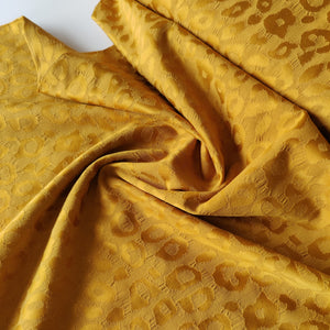 Leopard Mustard Jacquard - Stretch Cotton Crepe
