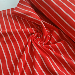 Red & Pink Stripe - French Terry