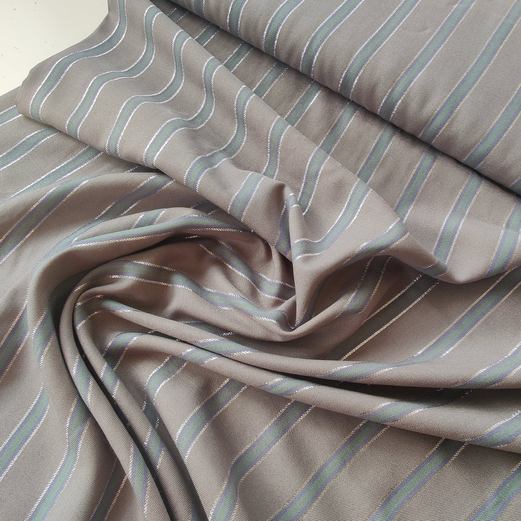 Grey with Metallic Stripes - Viscose