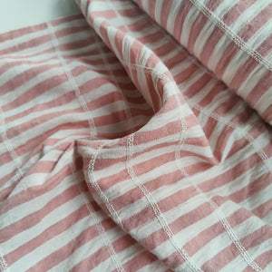 Dark Pink Stripe - Shirred Cotton Slub
