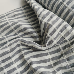 Dark Blue Stripe - Shirred Cotton Slub