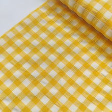 Yellow Check - Crinkled Viscose - END OF BOLT 58cm