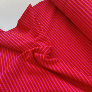 Red & Pink Stripe - Cotton Jersey