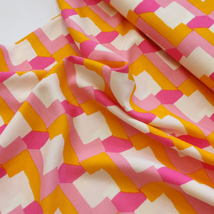 Pink & Yellow Tetris - Viscose