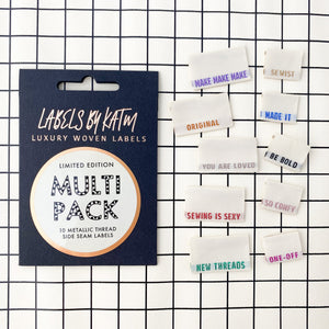 Metallic Side Seam Labels Multi Pack Limited Edition Multi Pack - Pack of 10 Clothing Labels - Kylie and the Machine