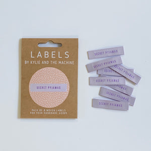 Secret Pyjamas - Pack of 8 Clothing Labels - Kylie and the Machine - Haberdashery & Tools - Kylie and the Machine - Sew Me Sunshine