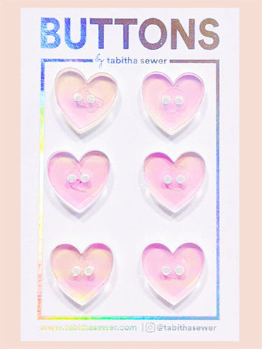 Irridescent Heart Buttons 15mm (.59
