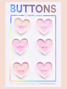"Irridescent Heart Buttons 15mm (.59"")"
