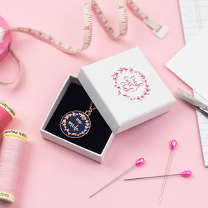 Navy Rose Gold Me Made Enamel Pendant Necklace - Pink Coat Club - Sewing Kits & Gifts - Pink Coat Club - Sew Me Sunshine