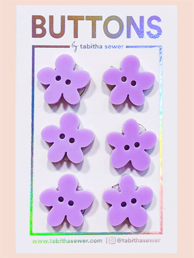 Lavender Flower Buttons 19mm (.75