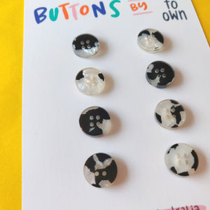 8 x 15mm Buttons Panda Tortie - Each To Own - Haberdashery & Tools - Each To Own - Sew Me Sunshine