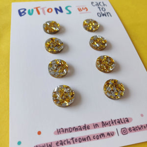 8 x 15mm Buttons Gold Glitter - Each To Own - Haberdashery & Tools - Each To Own - Sew Me Sunshine