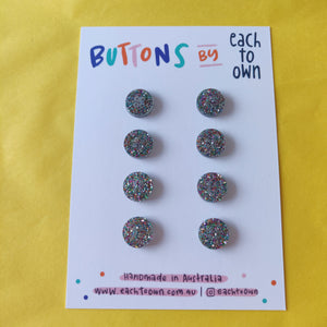 8 x 15mm Buttons Confetti Glitter - Each To Own - Haberdashery & Tools - Each To Own - Sew Me Sunshine