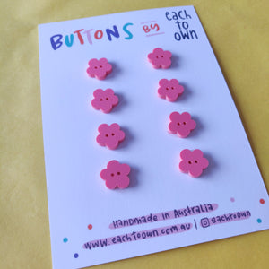 8 x 15mm Flower Buttons Matt Coral - Each To Own - Haberdashery & Tools - Each To Own - Sew Me Sunshine