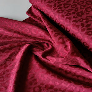 Leopard Burgundy Jacquard - Stretch Cotton Crepe