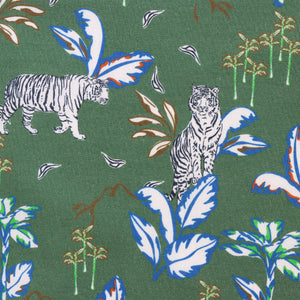 On The Prowl Green - Cotton Lawn - Ex Designer Deadstock
