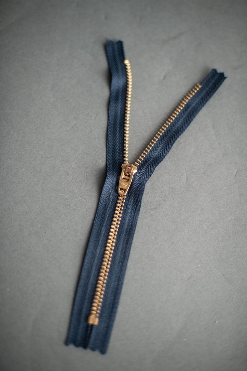 YKK Navy/Brass Jeans 7 inch Zip - Haberdashery & Tools - Merchant and Mills - Sew Me Sunshine
