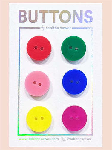 Rainbow Set Classic Round Buttons 15mm (.59