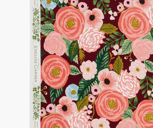 Juliet Rose Burgundy Garden Party - Cotton Linen Canvas - Rifle Paper Co.