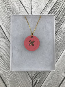 Pastel Pink Acrylic Button Necklace - Sew Dainty - Sewing Kits & Gifts - Sew Dainty - Sew Me Sunshine