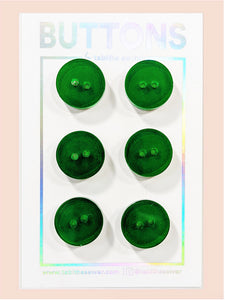 "Green Apple Transparent Classic Round Buttons 15mm (.59"")"