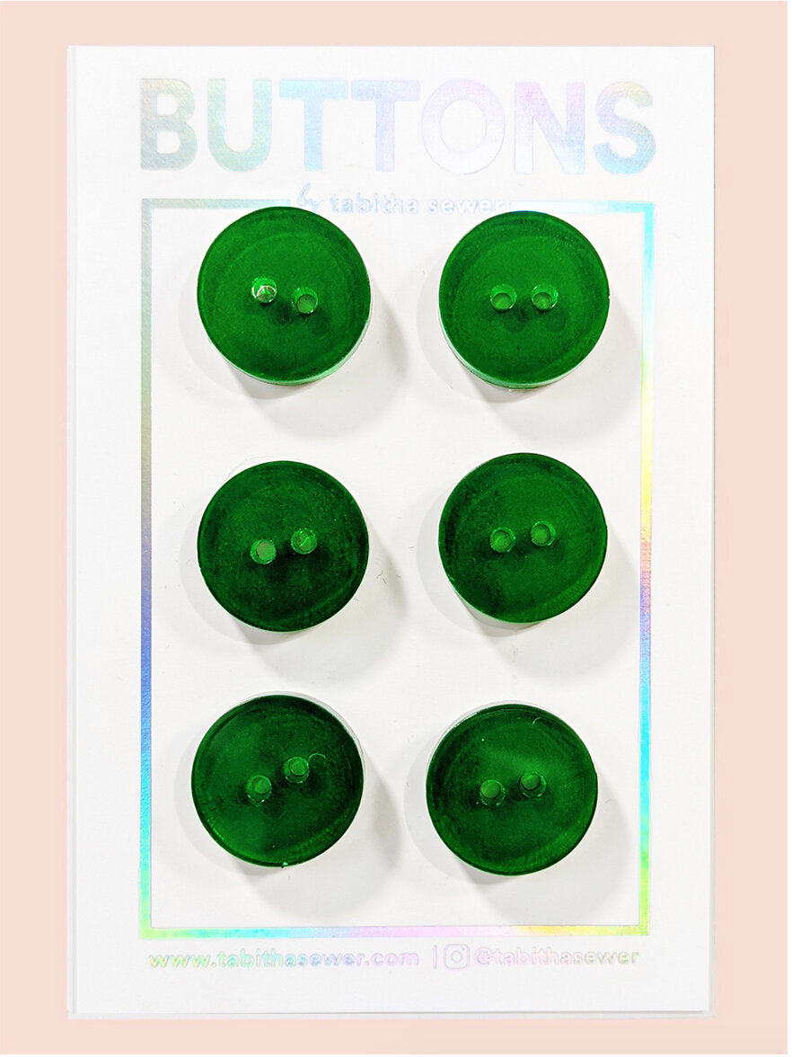 Green Apple Transparent Classic Round Buttons 15mm (.59