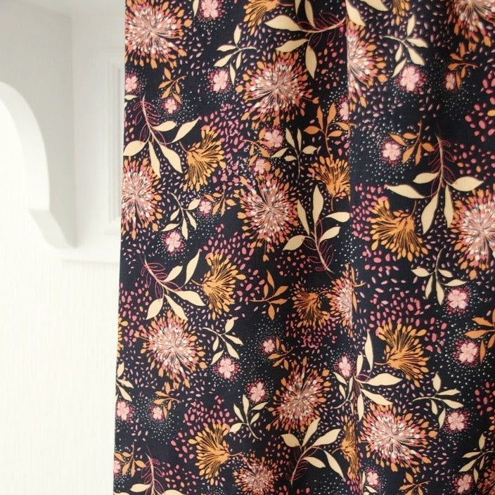 Navy Blue with Orange and Pink Flowers - Viscose - Atelier Jupe