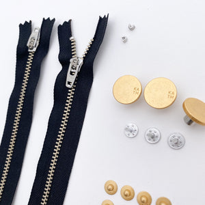 Jeans Hardware Kit - Black Zipper & Gold Hardware - Kylie and the Machine