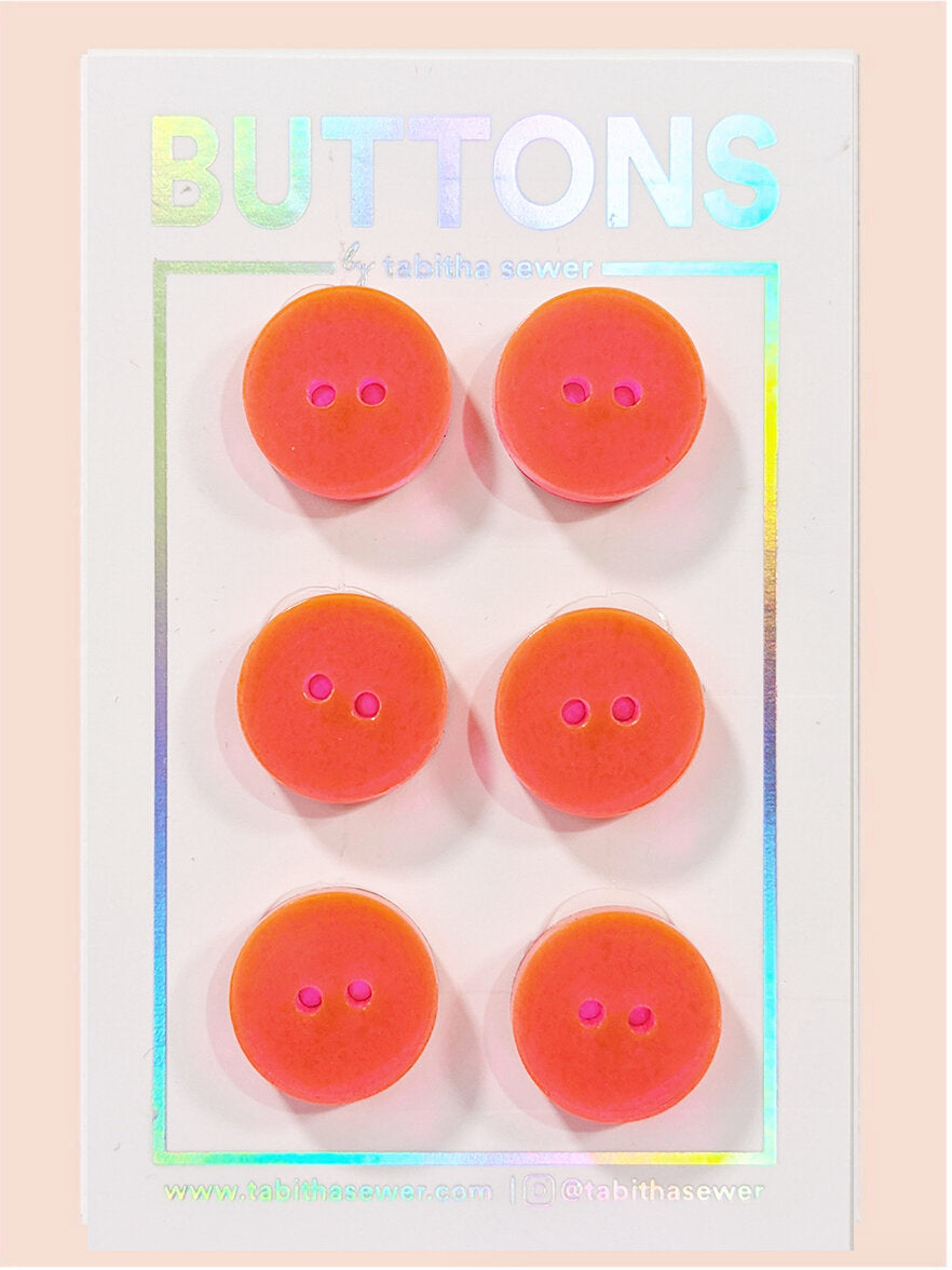 Neon Pink/Orange Two Tone Classic Round Buttons 15mm (.59