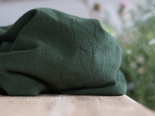 Organic Leaf Jacquard Green Khaki - Organic Cotton Jacquard Knit - mind the MAKER