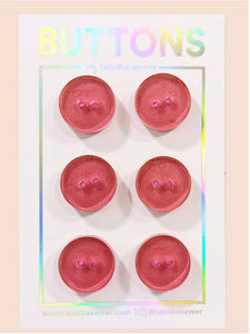 "Strawberry Transparent Classic Round Buttons 15mm (.59"")"