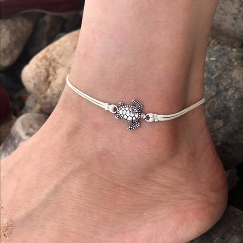 Leo Womens Beach Style Silver Turtle Anklet