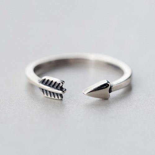 Leo Womens Sterling Silver Adjustable Arrow Ring