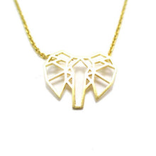 Leo Womens Geometric Elephant Outline Necklace