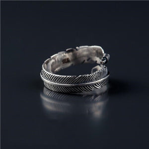 Leo Womens Retro Sterling Silver Feather Ring