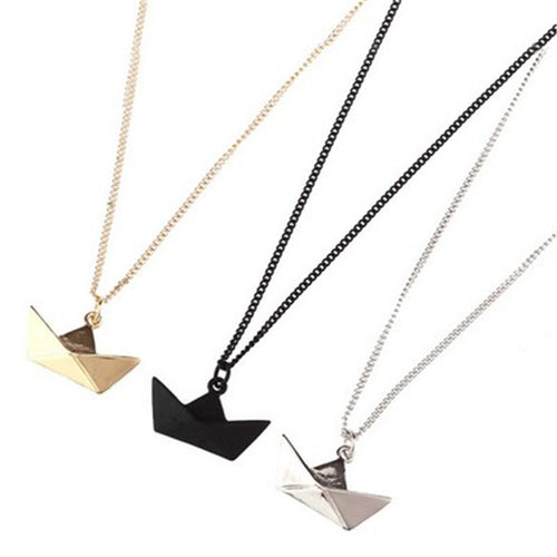 Leo Womens Origami Boat Necklace